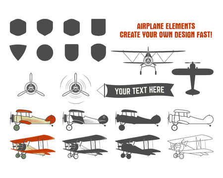 biplane: Vintage airplane symbols. Biplane vector graphic labels. Retro Plane badges, design elements. Aviation stamps vector collection. Fly propeller, old icon, shield isolated on white background. Illustration