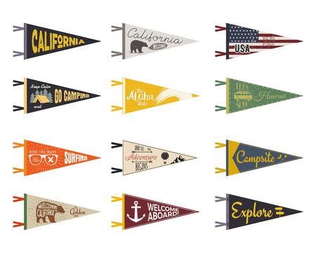 combi: Set of adventure pennants. Pennant explore flags design. Vintage surf, caravan, rv templates. USA, california pennant with summer camp symbols trailer, signpost, anchor, bear. Summer hawaii old style. Illustration