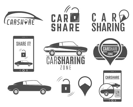 collective: Car share designs set. Car Sharing vector concepts. Collective usage of cars via web application. Carsharing icons, elements and symbols collection. Use for webdesign or print.