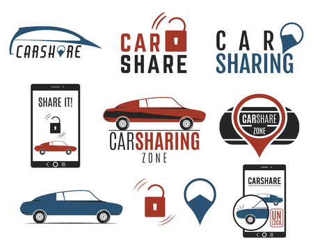 collective: Car share designs set. Car Sharing vector concepts. Collective usage of cars via web application. Carsharing icons, elements and symbols collection. Use for webdesign or print. Color palette.