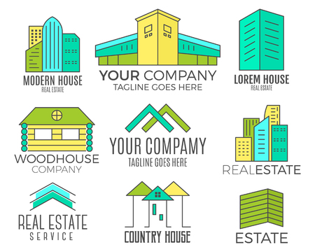 architectonic: Set of vector house designs, real estate icon suitable for info graphics, websites and print media. Vector, flat icon, badges, labels, clip art. Lineart style. Thin line design. Color design. Illustration