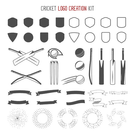 creation kit: Cricket creation kit. Sports designs. Cricket icons vector set. Create your own emblem design fast. Sports symbols, elements - ball, bats, shapes, cricket gear, equipment for web or t-shirt.