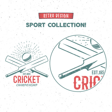 cricketer: Retro cricket icon design. Vintage Cricket emblem design. Cricket badge. Sports tee design and symbols with cricket gear, equipment for web or t-shirt print.