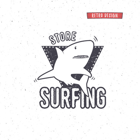 surf shop: Vintage Surfing Store Badge design. Surf gear shop Emblem for web design or print.