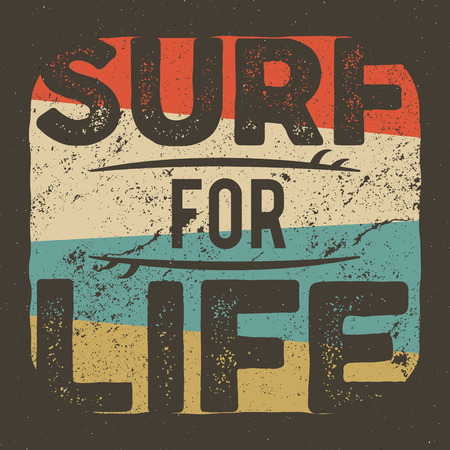 Vintage t-shirt apparel graphic design for surfing company. Retro surf tee design. Use as web banner, poster, advertising or print it. Vector summer surfer design with surfboards. Retro colors.