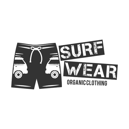 surf shop: Vintage Surfing Wear stamp design. Surf Clothing shop logo. Graphics and Emblem for web design or print. Surfer, beach style badge. Surf Label. Vector tee. Surfing t-shirt design. Isolated.