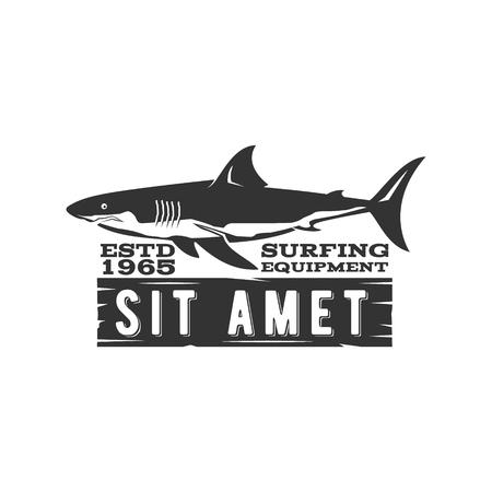 surf shop: Vintage Surfing Store Badge design. Surf gear shop Emblem for web design or print. Retro shark logo design. Surf equipment Label. Surfer stamp. Summer insignia. Vector black hipster symbol.