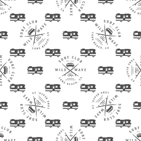 combi: Vector Surfing Seamless pattern with surfing van. Surfer club badge. Summer wallpaper printing design with adventure symbols - combi, rv trailer. Monochrome design. Use for print or web projects. Illustration