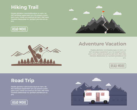 hiking trail: Camping vector flat banners set. Adventure hiking trail banner, extreme adventure vacation banner, road trip banner. With outdoors symbols - van, mointains, snowboard vector elements for web design.
