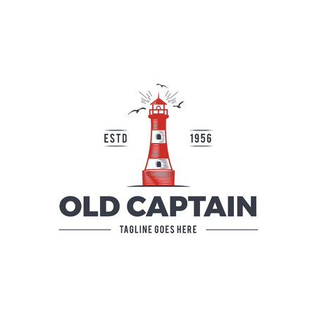 Nautical logo design, icon Old captain emblem with sea elements - lighthouse, seagulls, sunburst. Sailing label or badge. Use for web projects, printing on t-shirt. Isolated on white background.
