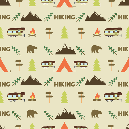 hike: Hiking seamless pattern. Hiking trail seamless wallpaper design. Equipment for outdoor walking background for print. Hiking or gear rustic pattern- tent, rv, bonfire. Hike park pattern design. Vector.