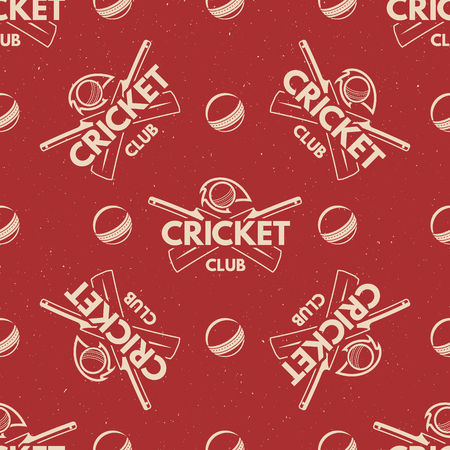 bat and ball: Sport pattern. Cricket retro background. Seamless pattern of cricket accessories. Bat & ball symbols. With typography elements. Pattern for design, web, backdrop, tee design, t shirt etc. Vector.