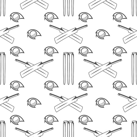 bat and ball: Sport pattern. Cricket retro background. Seamless pattern of cricket accessories. Bat & ball symbols. Pattern for design, web, backdrop, tee design, t shirt etc. Vector.