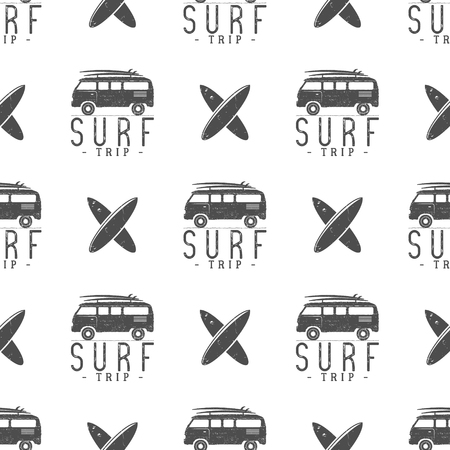 combi: Surfing trip pattern design. Summer seamless design with surfer van, surfboards. Monochrome combi car. Vector illustration. Use for fabric printing, web projects, t-shirts or tee designs. Illustration