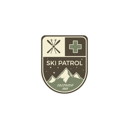 wilderness: Camping Label. Vintage Mountain winter camp explorer badge. Outdoor adventure logo design. Travel monochrome and hipster color insignia. Snowboard icon symbol. Wilderness emblem and stamp. Vector.