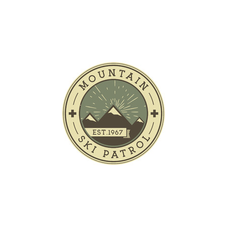wilderness: Camping Label. Vintage Mountain ski patrol patch. Outdoor adventure logo design. Travel retro and hipster color insignia. Adventure badge design. Wilderness emblem and stamp. Vector