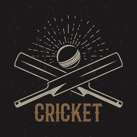 tee shirt: Retro cricket club emblem design. Cricket logo icon design. Cricket badge. Sports logo symbols with cricket gear, equipment. Cricket tee design. Tee shirt emblem. T-Shirt prints retro style Illustration