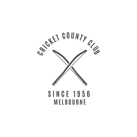 cricketer: Cricket club emblem and design elements. Cricket design. Cricket badge. Sports symbols with cricket gear, equipment. Use for web design, tee design or print on t-shirt. Monochrome.