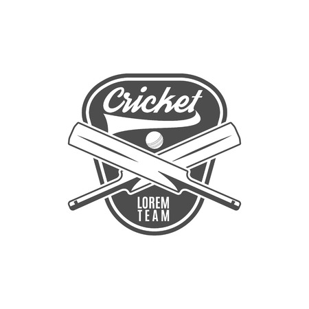cricketer: Cricket team emblem and design elements. Cricket team design. Cricket club badge. Sports symbols with cricket gear, equipment. Use for web design, tee design or print on t-shirt. Monochrome.
