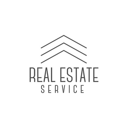 realtor: Vector real estate design, realtor icon suitable for info graphics, websites and print media. Vector, flat icon, badge, label, clip art. Lineart style. Elegant Thin line design. Monochrome.