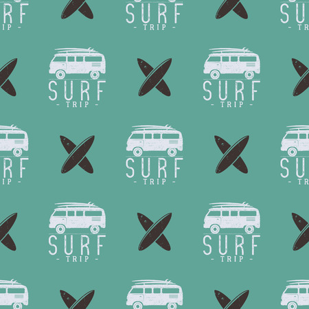 combi: Surfing trip pattern design. Summer seamless with surfer van, surfboards. Monochrome combi car. Vector illustration. Use for fabric printing, web projects, t-shirts or tee designs. Retro colors. Illustration