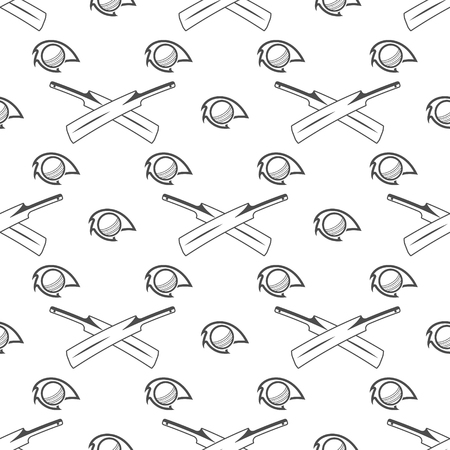 bat and ball: Cricket sport pattern. Retro background. Seamless pattern of cricket accessories - Bat ball symbols. Good for web projects, backdrop, tee design, t shirt etc. Vector illustration
