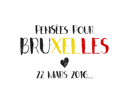 heart attack: Pray for Brussels lettering with black heart. Tribute to victims of terrorism attack in Brussels airport, metro March 22, 2016. Vector hand drawn illustration isolated on white background