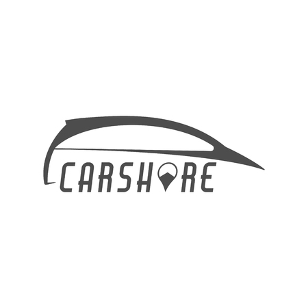 collective: Car share design. Car Sharing vector concept. Collective usage of cars via web application. Carsharing icon, car rental element and symbol. Use for webdesign or print. Monochrome design. Illustration