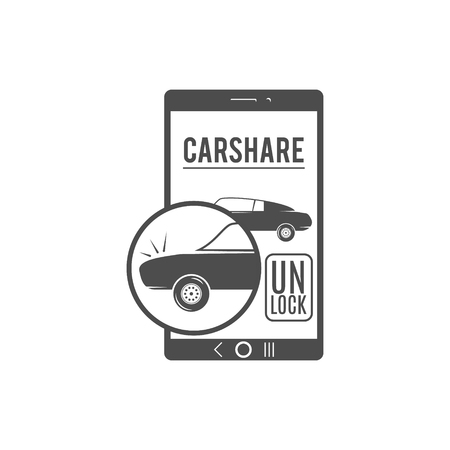 tariff: Car share design. Car Sharing vector concept. Collective usage of cars via web application. Carsharing icon, car rental element and app symbol. Use for webdesign or print. Monochrome design.
