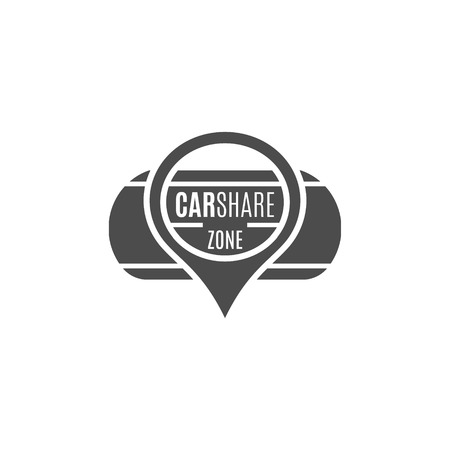 collective: Car share design. Car Sharing vector concept. Collective usage of cars via web application. Carsharing icon, car rental element and road symbol. Use for webdesign or print. Monochrome design.