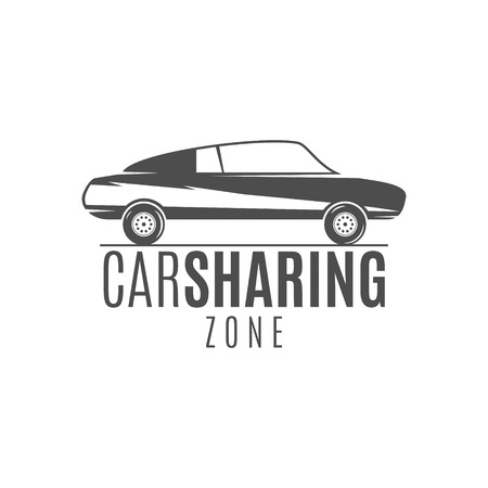 collective: Car share design. Car Sharing vector concept. Collective usage of cars via web application. Carsharing icon, car rental element and car icon symbol. Use for webdesign or print. Monochrome design.