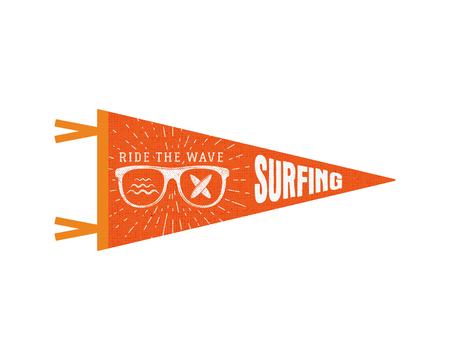 pennant: Surfing pennant. Summer Pennant flag design. Vintage surf emblem with glasses, longboard, sunburst. Ride the wave pennant. Summer symbols isolated. Retro surfboard icon, label design.