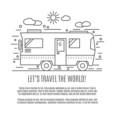 Dünne Linie flache Wanderkonzept. Design of Camper RV Auto. Moderne dünne Linie Reise Vektor-Illustration Konzept, isoliert auf weißem Hintergrund. Lassen Sie uns die Welt zu reisen. Vektorgrafik