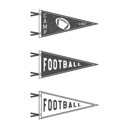 college football: College Football Pennant Flags Set. Football pendant Icons. University USA Sport flag, isolated. Training camp emblem. Soccer label element. Monochrome design template. sign. Stock Photo