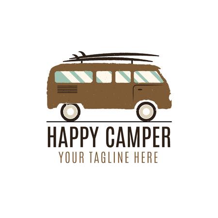 Happy camper design. Vintage bus illustration. RV truck emblem. Van icon template. Surfing equipment. Caravan adventure concept. Outdoor family wagon symbol. Classic summer truck. Vector design.