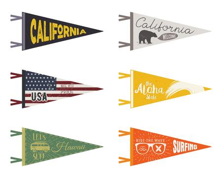 combi: Set of adventure pennants. Pennant travel flags design. Vintage surf, caravan, rv templates. USA, california pennant with summer camp symbols trailer, signpost, anchor, bear. Summer hawaii old style.