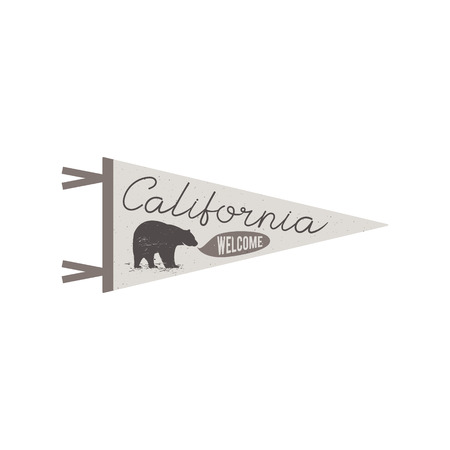 california flag: Adventure pennant. Welcome to California flag Pennant. Explorer tee design. Vintage camping t shirt design. Travel print with cali symbol bear. Vector graphic leisure concept isolated. Retro outdoors.