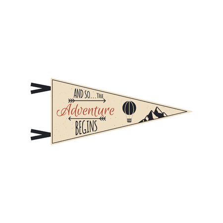 Adventure pennant. Vector Travel pennant design. Explorer flag template. Vintage camping layout. Climbing style pennant with mountains and balloon. Use for web, tee, t-shirt design.