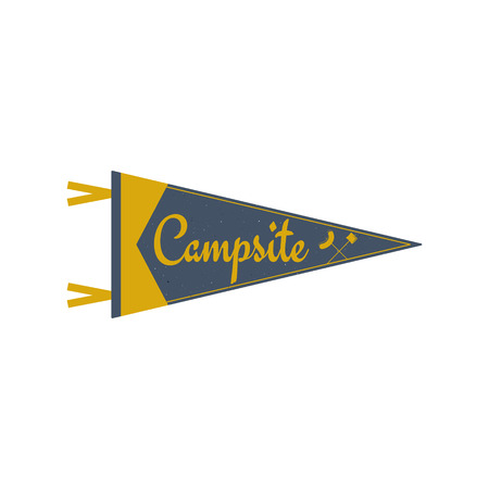 campground: Adventure pennant. Campsite Pennant. Explorer flag design. Vintage camping template. Travel style pennant with summer camp symbols tent, trees. For Summer campsite or campground old style. Illustration