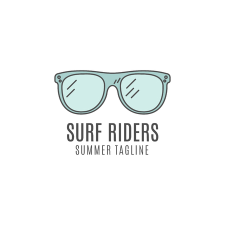 lineart: Minimalistic surfing concept. Summer Thin line flat tropical design. Lineart Surfer gear badge - glasses. Linear tourist vector templates, isolated. Surfboard line art equipment emblem.