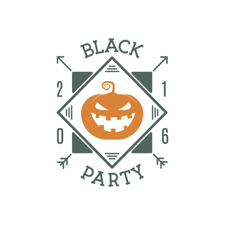 halloween tee shirt: Happy Halloween 2016 black party invitation label. Typography insignia for celebration holiday. Retro badge, . For web projects, tee design, t shirt print and other identity. Vector illustration