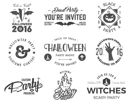 halloween tee shirt: Halloween 2016 party label templates with scary symbols - zombie hand, witch hat, bat, pumpkin and typography elements. Use for party posters, flyers, invitations. On t shirt, tee and other identity. Illustration