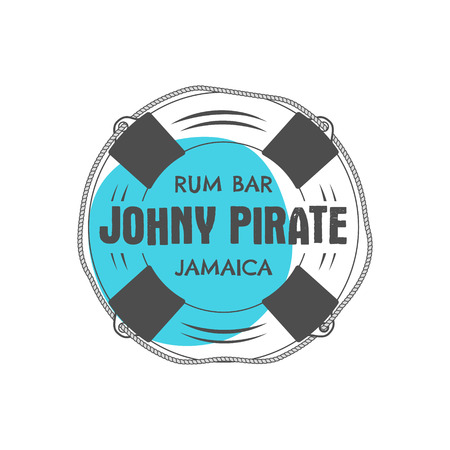 t bar: Vintage handcrafted rum bar label, emblem. Vector sign - johny pirate, Jamaica. Sketching filled style. Pirate and sea symbols - old lifebuoy. Isolated on white background. Vector illustration Illustration