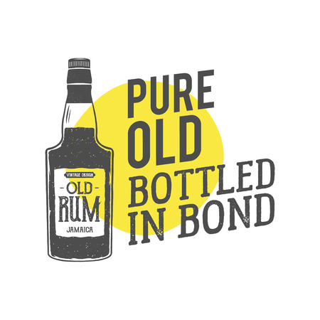 handcrafted: Vintage handcrafted label, emblem with old rum bottle and vector slogan - pure old bottled in bond. Sketching filled style. Typography design for advertising, tee. Isolated on yellow shape. Vector. Illustration