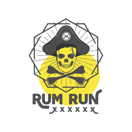 halloween tee shirt: Pirate skull insignia or poster. Retro rum label design with sun bursts, geometric shield and vector text - rum run. Vintage style for tee design, t-shirt, web projects, , pub etc