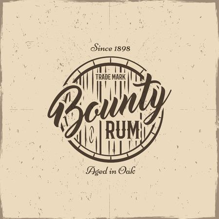 bounty: etiqueta hecha a mano de la vendimia, emblema con el viejo cañón y Vector de la muestra - ron recompensa. Bosquejar estilo de llenado. Diseño retro para impresiones de publicidad, tee, camiseta. Aislado en el fondo del papel del grunge. Vector.