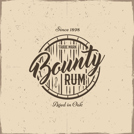 bounty: Vintage handcrafted label, emblem with old barrel and vector sign - bounty rum. Sketching filled style. Retro design for advertising, tee, t shirt prints. Isolated on grunge paper background. Vector.