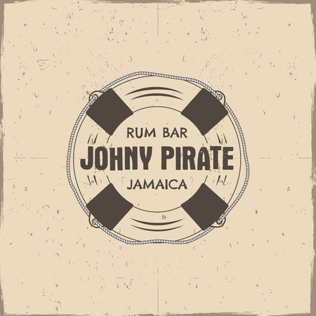 johny: Vintage handcrafted rum bar label, emblem. Vector sign - johny pirate, Jamaica. Sketching filled style. Pirate and sea symbols - old lifebuoy. Isolated on a scratched paper background. Vector.