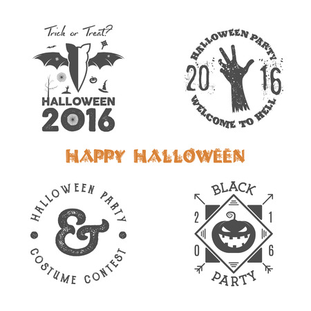 halloween tee shirt: Halloween 2016 party label templates with scary symbols - zombie hand, bat, spider web, pumpkin and typography elements. Use for party posters, flyers, invitations. On t shirt, tee and other identity.