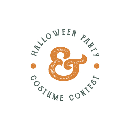 t shirt print: Happy Halloween 2016 vintage Party Label. Typography insignia for celebration holiday. Retro badge, . Use for web projects, tee design, t shirt print and other identity. Vector illustration Illustration